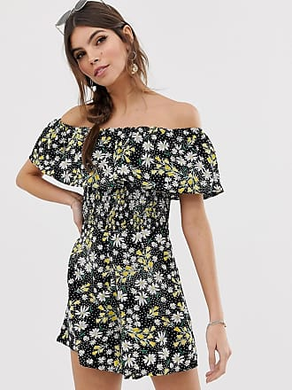 f5be9b59ea Asos off shoulder ruffle playsuit with shirring in ditsy floral