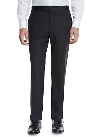 Zanella Formal Flat-Front Trousers, Black
