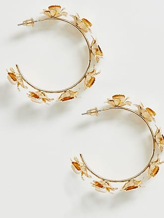 9f25d95a6 Asos hoop earrings with floral design and pearl in gold
