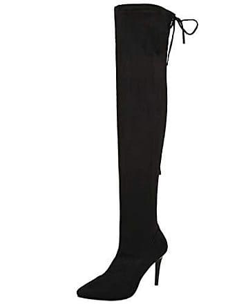 53afd945ae08a3 Aiyoumei Damen Wildleder Stiletto Stretch Overknee Stiefel mit 9cm Absatz  Elegant High Heels Langschaftstiefel Schuhe