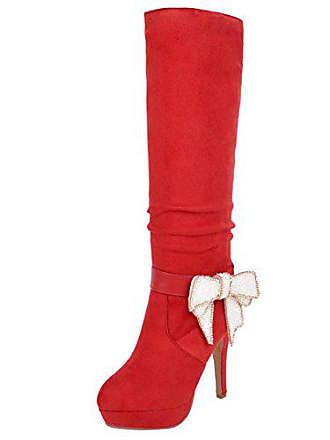7d8d067cf8ab7b Aiyoumei Damen Winter Stiletto Kniehohe Stiefel mit Schleife und Plateau  Knee High Boots