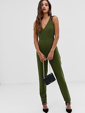 8cd244f1c617 Asos lace trim peg leg jumpsuit - Green