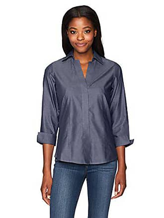 Foxcroft Womens Plus Size Taylor Essential Non-Iron Shirt, Classic Navy, 16W