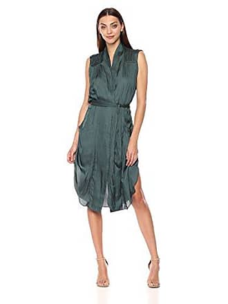 835a928389f8d Halston Heritage Womens Sleeveless Tie Waist Shirt Dress with Pockets