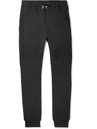 Balmain Slim-fit Tapered Loopback Cotton-jersey Sweatpants - Black