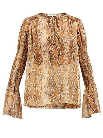 b3105c85a74c2 Diane Von Fürstenberg Rohini Python Print Silk Blouse - Womens - Brown Print