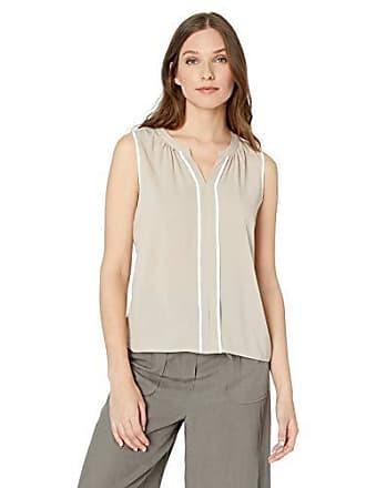 38a8788edcea7a Calvin Klein Womens Split Neck Tipped Top, Khaki White, XL