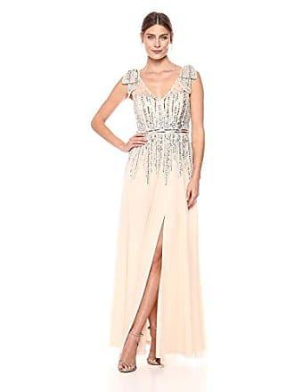 Aidan Mattox Womens Beaded Dress, Champagne, 4
