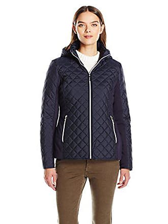 Kensie Womens Active Quilted Jacket with Ponty Detail and Fully Removable Hood, Navy, M