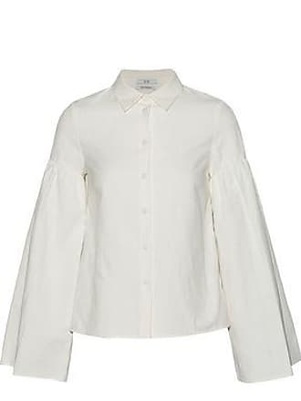 Co Co Woman Fluted Linen And Cotton-blend Shirt Ivory Size XS