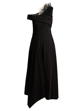 Preen Carol Asymmetric Satin Tulle Dress - Womens - Black