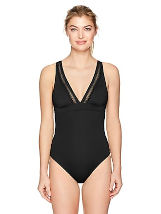 cc6491eab6ba2 Seafolly Womens Wild at Heart V Neck Maillot Swimsuit One-Piece Black