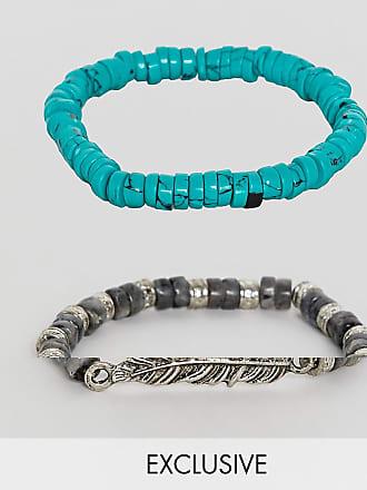b16f2d801f12 Reclaimed Vintage Pack de pulseras con cadena y cuentas