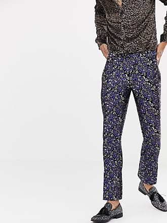 Twisted Tailor super skinny suit pants in floral jacquard - Blue