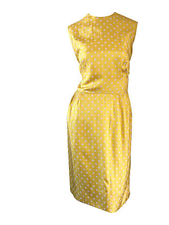 25a61d7e646 1stdibs Late 1950s Addie Masters Silk 50s Day Dress W  Yellow   White Polka  Dots