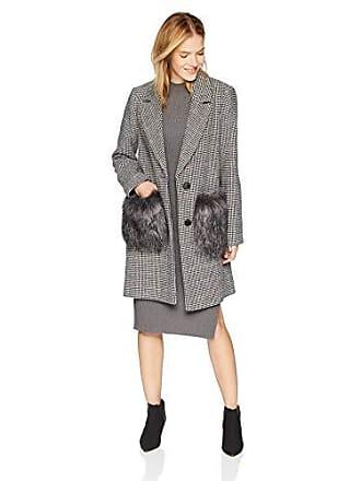 Kendall + Kylie Womens Hountstooth Wool Coat, Black/White Plaid, X-Large