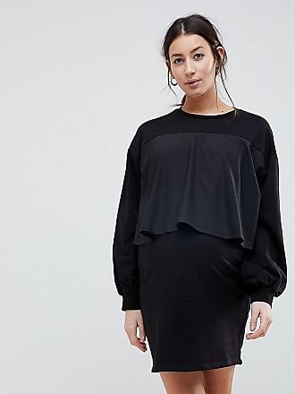Asos Maternity ASOS MATERNITY - Sweatshirt-Kleid zum Stillen mit gewebter  Lage - Schwarz f9f97c11fa
