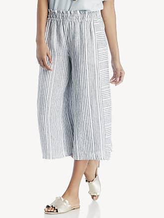 b8f6fd382539 Vince Camuto Womens Variegated Stripe Linen Wide Leg Culottes Pants In  Color  Rich Black Size