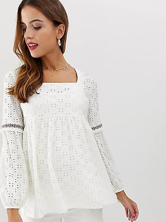 Mama Licious Mamalicious maternity broderie square neck smock top - White