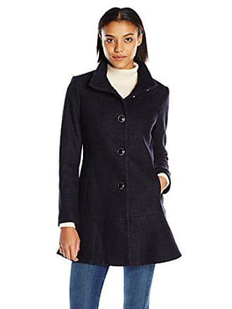 Kensie Womens Stand Collar Button Up Wool Skirted Coat-l9401, Navy, XS