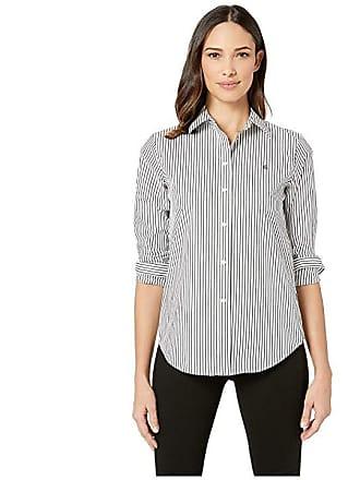 e8647d7584 Ralph Lauren Embroidered Striped Button Down Shirt (Black White Multi) Womens  Clothing