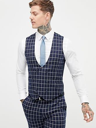 Asos Chaqueta de traje muy ajustado de cuadros azul marino de ASOS DESIGN 042c20dda77