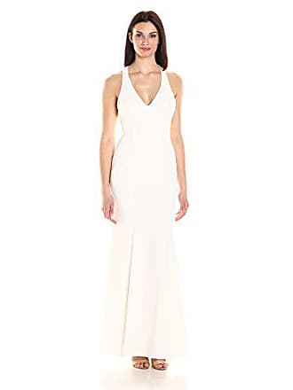 Xscape Womens Long Crepe Gown with Racer Back, Ivory, 6