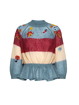 Red Valentino Floral Embroidered Ruffled Mohair Sweater Blue Multi