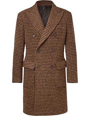 Incotex Slim-fit Double-breasted Houndstooth Alpaca-blend Coat - Brown