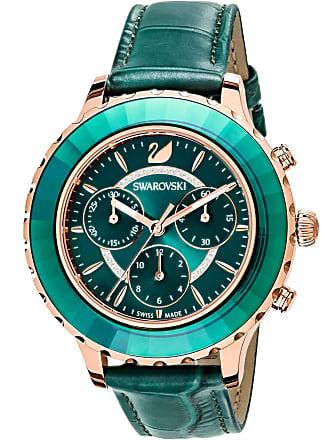 Swarovski Octea Lux Chrono Watch, Leather Strap, Green, Rose gold tone