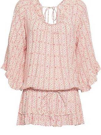 Eberjey Eberjey Woman Gathered Printed Voile Mini Dress Coral Size S/M