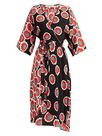 Diane Von Fürstenberg Eloise Blossom Print Silk Charmeuse Wrap Dress - Womens - Black Red