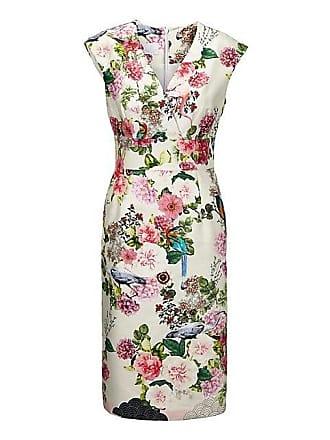 3a378b00a3088f Madeleine Ärmelloses Stretch-Kleid mit farbenfrohem Print Damen wollweiss/ multicolor / grün