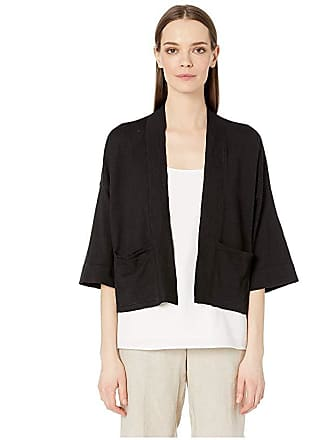Eileen Fisher Organic Linen Crepe Stretch Boxy 3/4 Sleeve Short Cardigan (Black) Womens Clothing