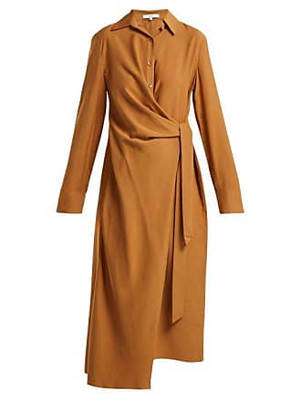 Tibi Twill Wrap Dress - Womens - Tan