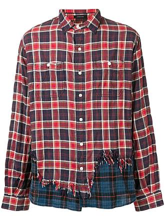 R13 Camisa com recortes contrastantes - Vermelho