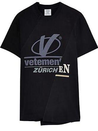 VETEMENTS Vetements Woman Printed Cotton-jersey T-shirt Black Size L