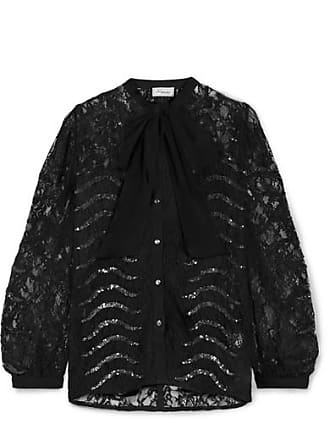 Temperley London Panther Pussy-bow Sequined Lace Blouse - Black