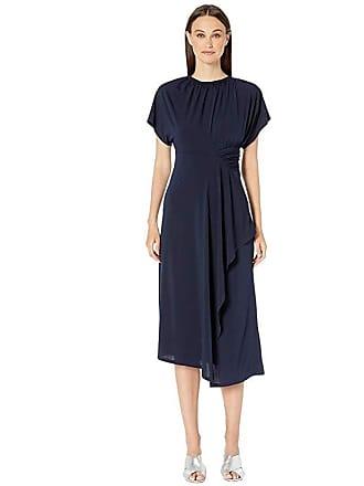 Yigal AzrouËl Matte Jersey Asymmetric Shirred Waist (Midnight) Womens Dress