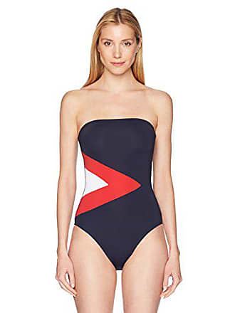 ddc882829240f Nautica Womens Classic Bandeau One Piece Swimsuit, Navy/Red, Medium