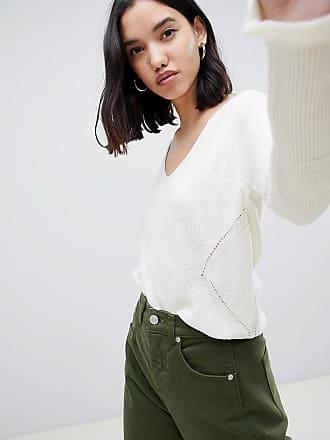 Gianni Feraud fine rib v neck sweater with trim detail - Cream