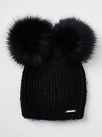 66266036a93c5 River Island Womens Black faux fur double pom pom beanie