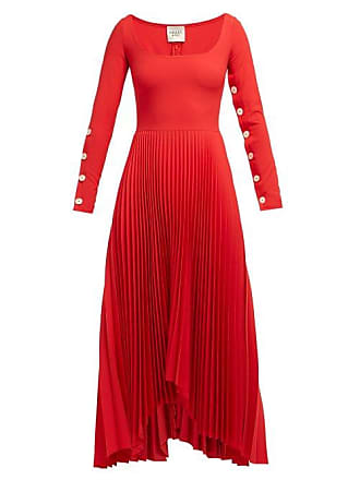 A.W.A.K.E. A.w.a.k.e. Mode - Square Neck Pleated Dress - Womens - Red