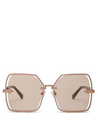 1bcd23f016fa Karen Walker Eyewear Nirvana Gold Oversized Square Sunglasses - Womens -  Brown