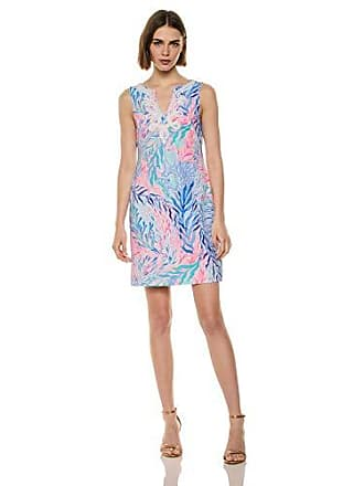 Lilly Pulitzer Womens Harper Shift, Crew Blue Tint Kaleidoscope Coral, M