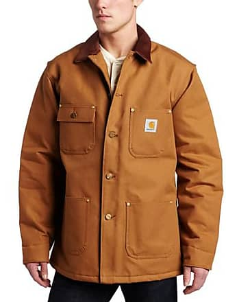 Carhartt Work in Progress Mens Duck Chore Coat Blanket Lined C001,Brown,X-Large