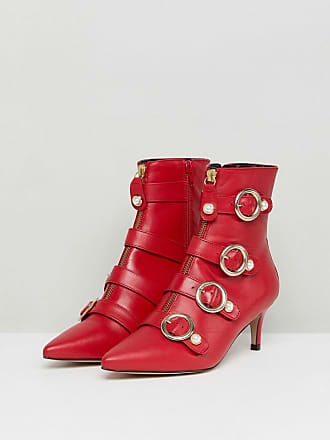 b99a1360dea Carvela Sparky Red Leather Kitten Heeled Ankle Boots - Red