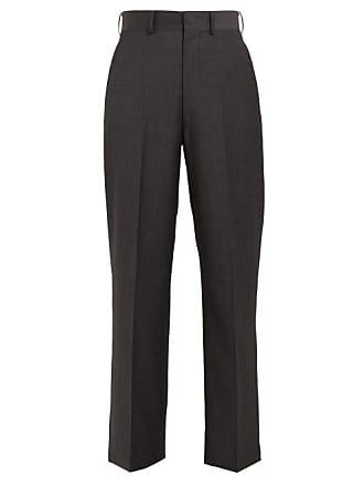 Junya Watanabe High Rise Striped Wool Twill Trousers - Womens - Grey