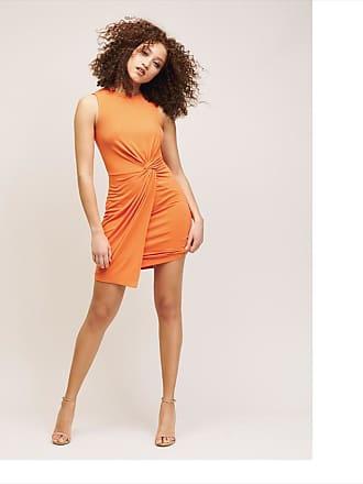 Dynamite Ariel Side Twist Dress Amber Glow Orange