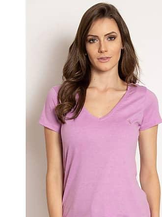 Aleatory Camiseta Aleatory Feminina Gola V Básica Lilás-Lilás-GG